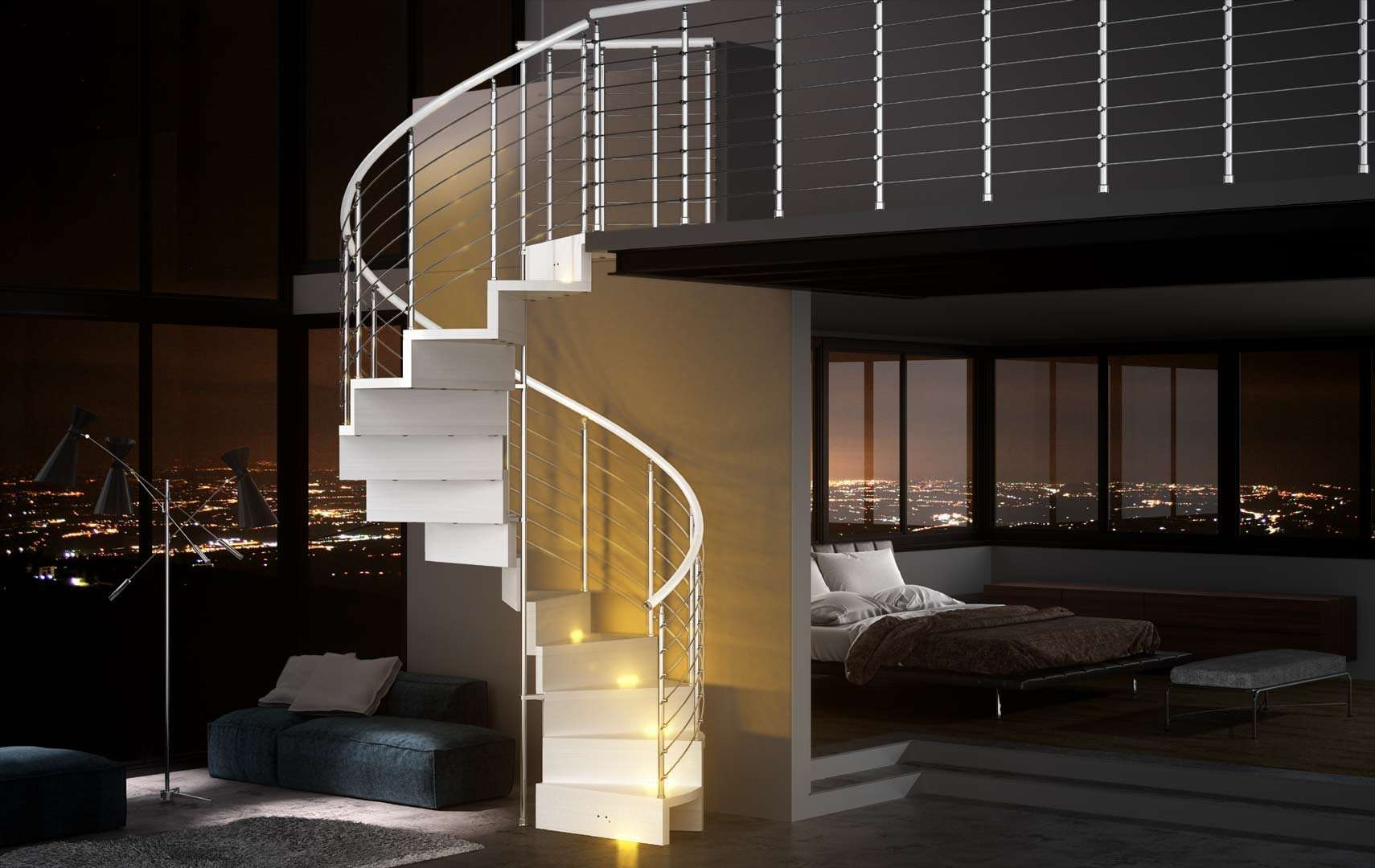 Pura ampia scelta di scale a chiocciola e scale elicoidali in legno per interni con - Luci per scale ...