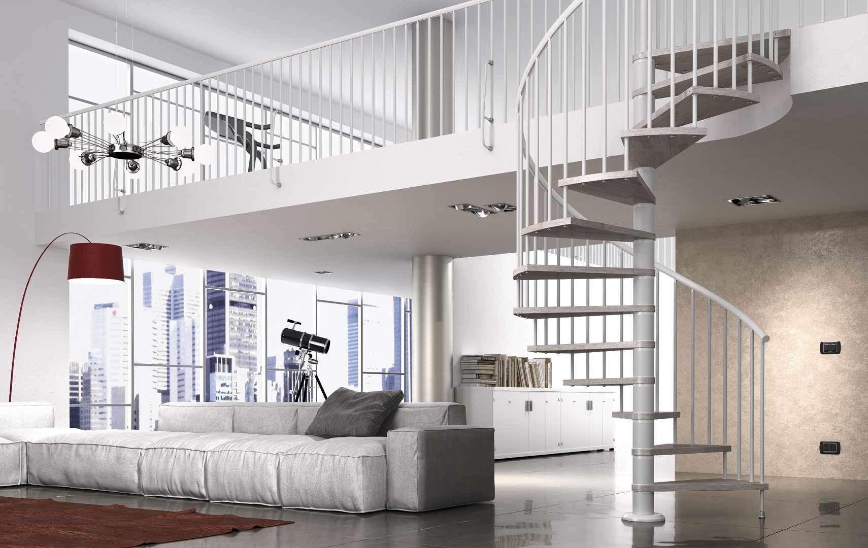 Fox ampia scelta di scale a chiocciola e scale elicoidali in legno per interni con - Scale a chiocciola interne ...