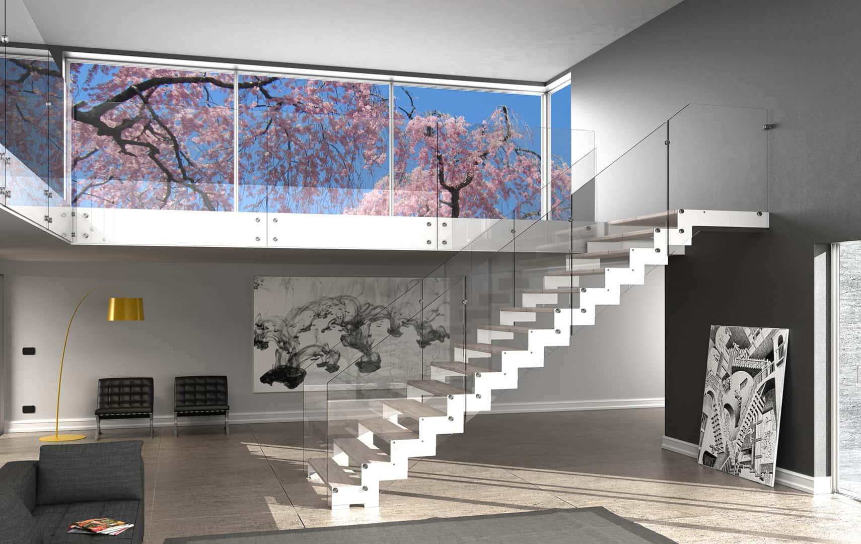 Parapetti Per Scale Interne ᐅ scale interne in vetro con ringhiera in vetro, parapetto