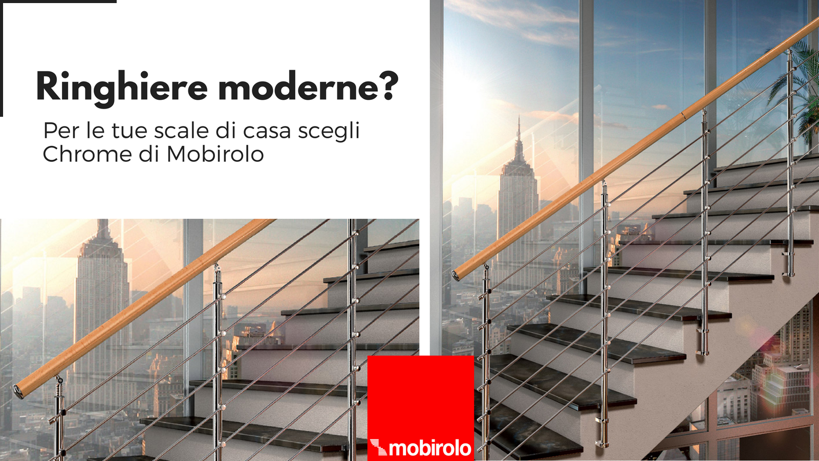 Modern stairs banisters? For your home stairs choose model Chrome of Mobirolo