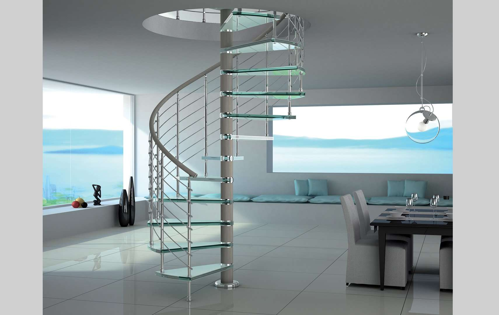 Scale A Chiocciola Moderne ᐅ diable glass - diable_glass | glass-staircase staircases