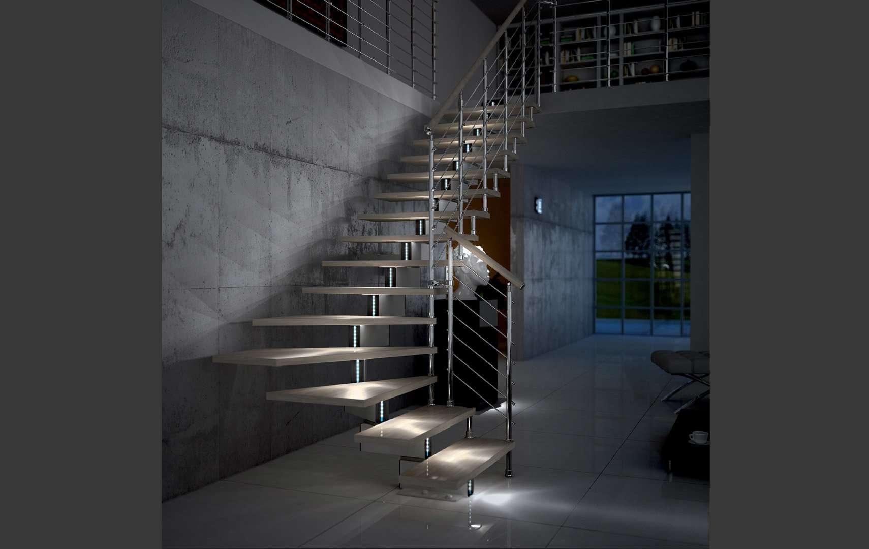 Jazz chrome led scale interne con luci a led con segnapasso led scale per avere un - Luci per scale ...