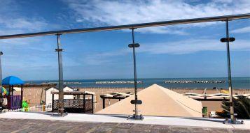 Banister in glass in Riviera Romagnola